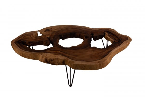 round acacia live edge coffee table with glass