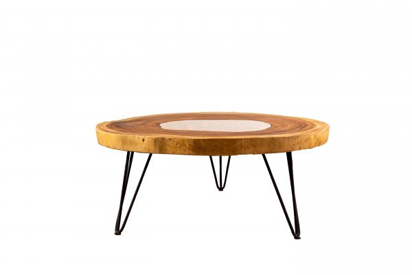 round live edge coffee table with glass insert