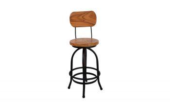Acacia Wood Barstool - Premium Swivel Bar Stool with Acacia Back