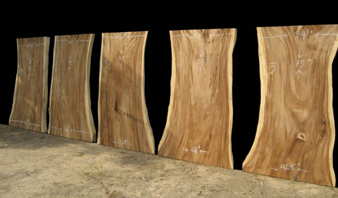 drying acacia live edge slabs