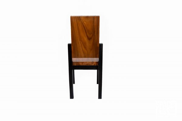 Acacia Wood Dining Chair - Patterned with Black