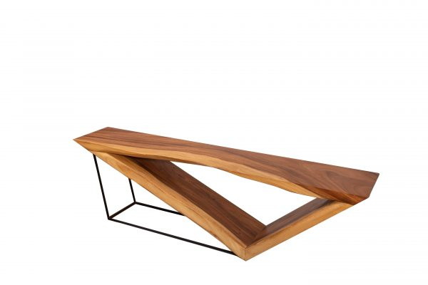 sled coffee table design in acacia wood with steel