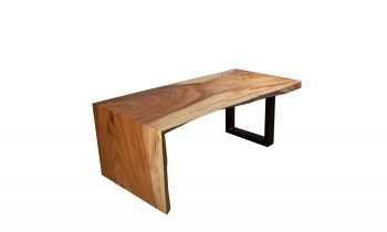 acacia wood and steel sled coffee table