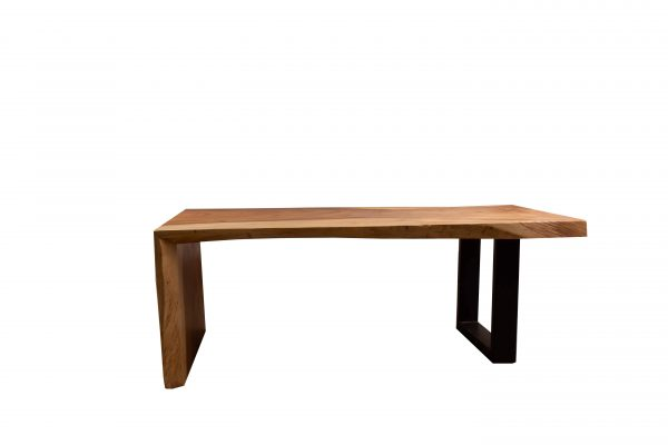 sled coffee table using acacia wood and steel