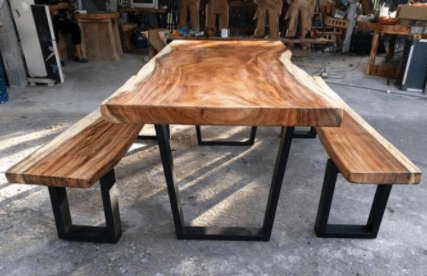 live edge acacia wood dining table with benches