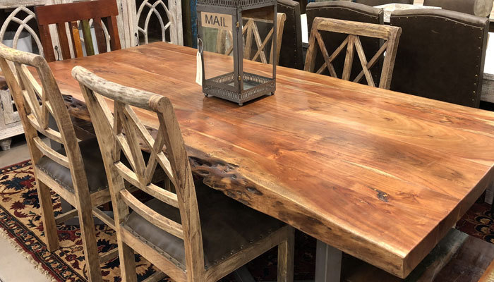 luxury acacia dining table and chairs
